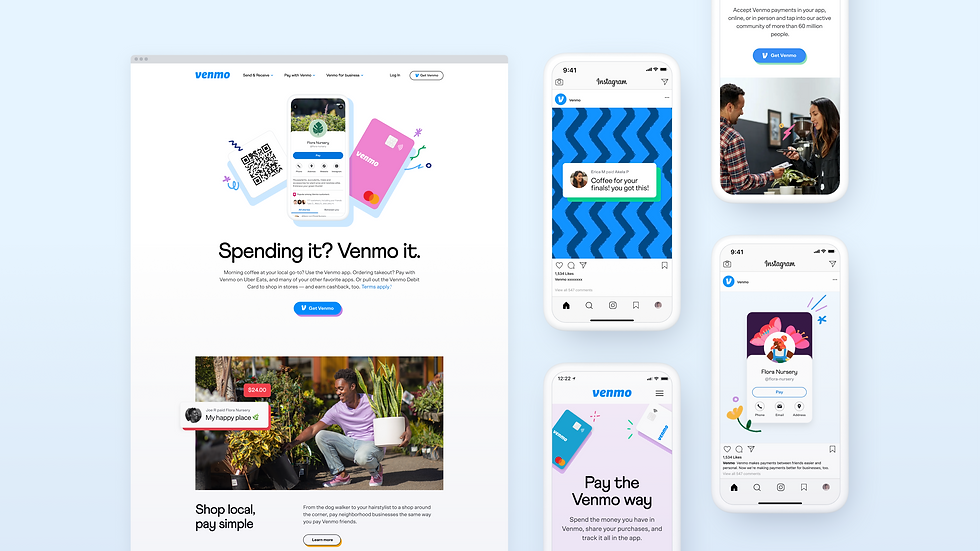 Excerpts showing Venmo's refresh on website and mobile
