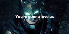 Batman still with typography superimposed
