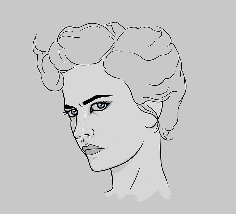 digital portrait illustration of Eva Green as Ms. Peregrine