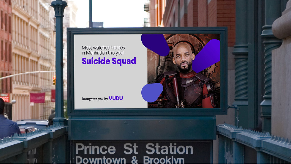 NYC Subway billboard mockup: Most watched heroes in Manhattan this year — Suicide Squad