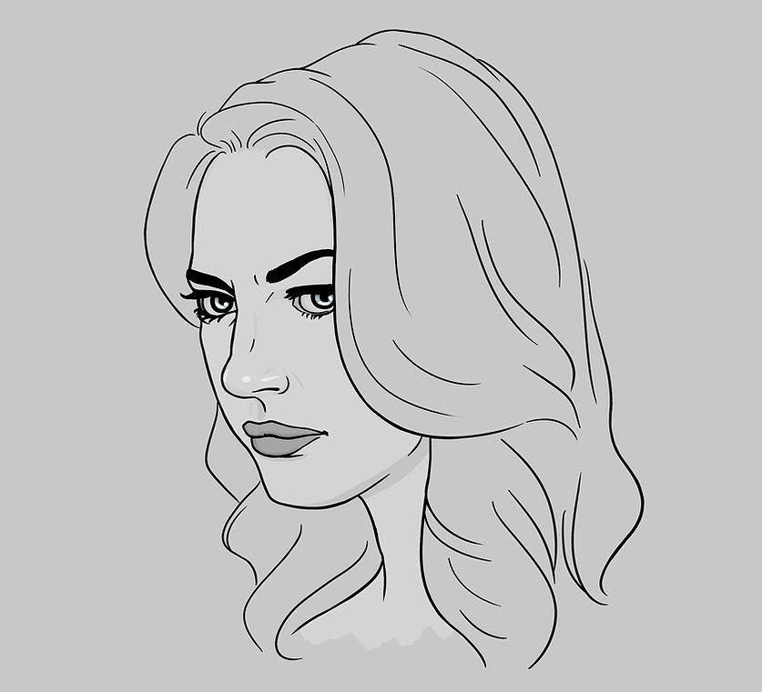digital portait illustration of Yael Grobglas as Petra Solano on Jane the Virgin