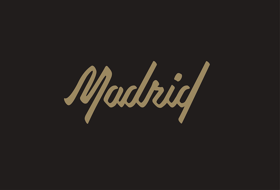 """The word """"Madrid"""" in script lettering, filled with muted gold color on black background"""