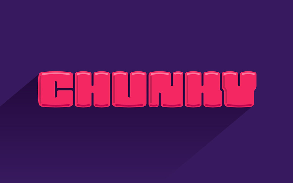 "The word ""Chunky"" in a bubbly and chunky lettering style. Pink fill, deep purple background"