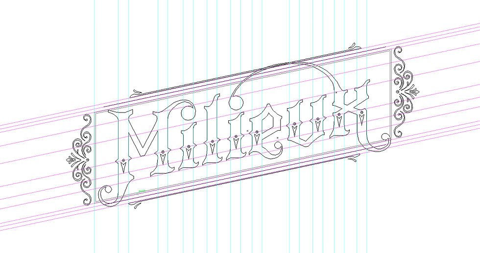 An outline view of the lettering composition shown above, screencaptured from the Illustrator program