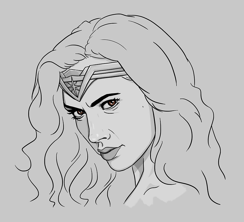 digital portrait illustration of Gal Gadot as Wonder Woman