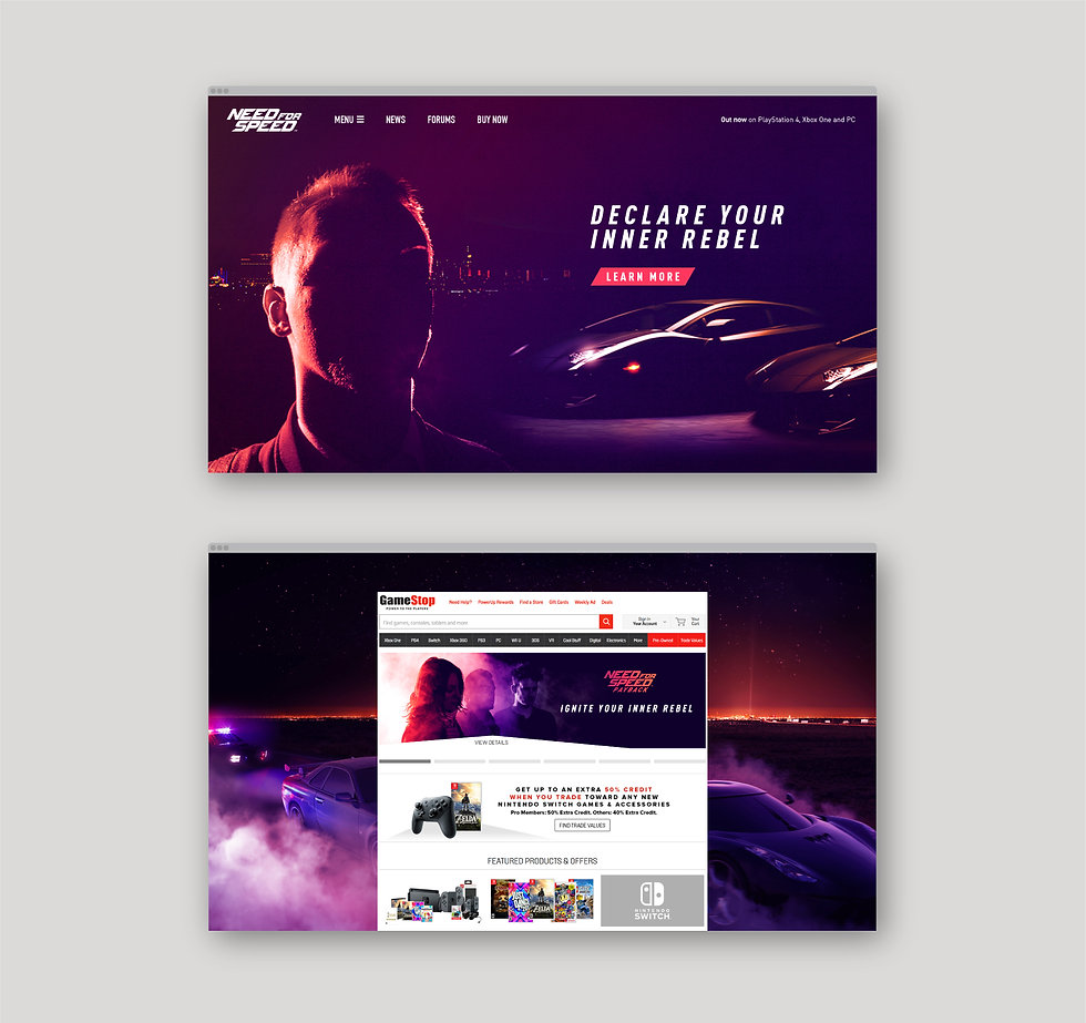 Website mockups of NFS homepage and of an ad takeover