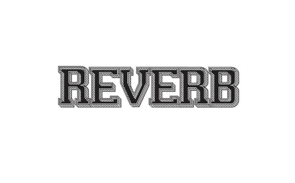"The word ""REVERB"" illustrated in a dimensional way"