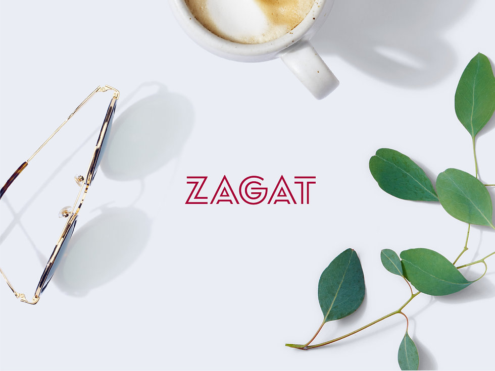 Zagat logo surrounded by close crop of sunglasses, a coffee mug, and decorative plant
