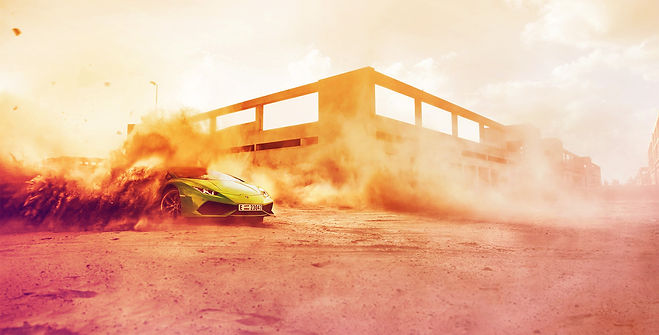 A lambo drifting in dust, color treated
