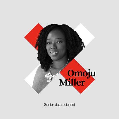 Portrait of Omoju Miller in X graphic
