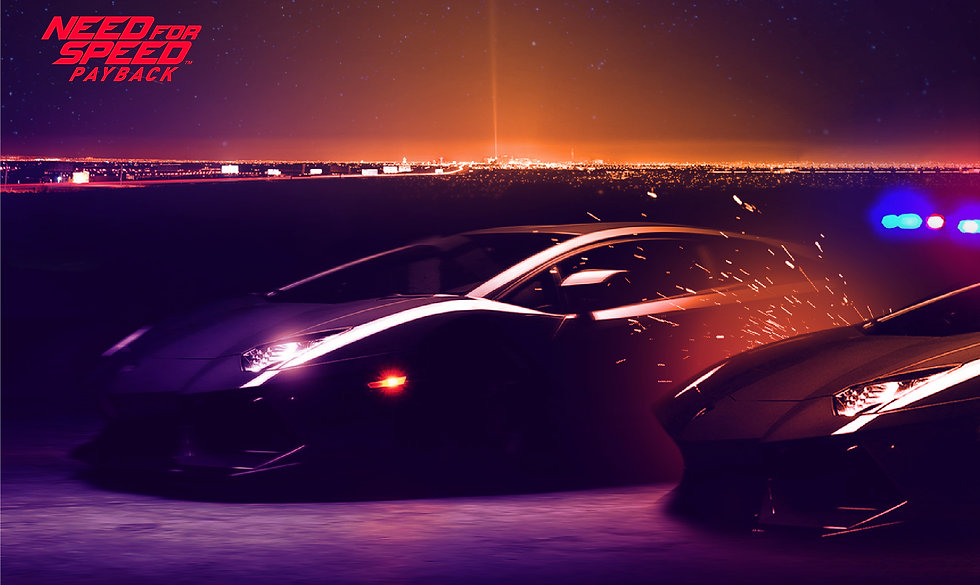 Two sports cars in a night scene against a Las Vegas backdrop