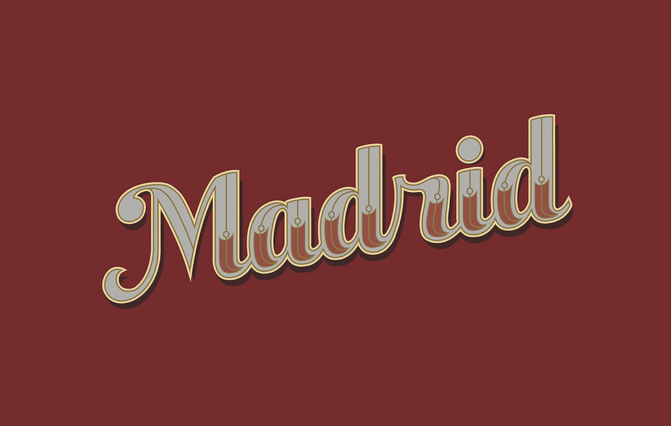 """The word """"Madrid"""" in script and embellished/ornamental lettering, on a maroon background"""