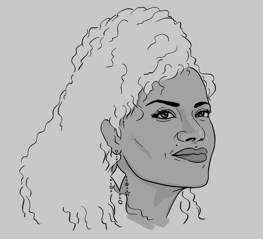 digital portrait illustration of Gugu Mbatha-raw as Kelly on Black Mirror San Junipero