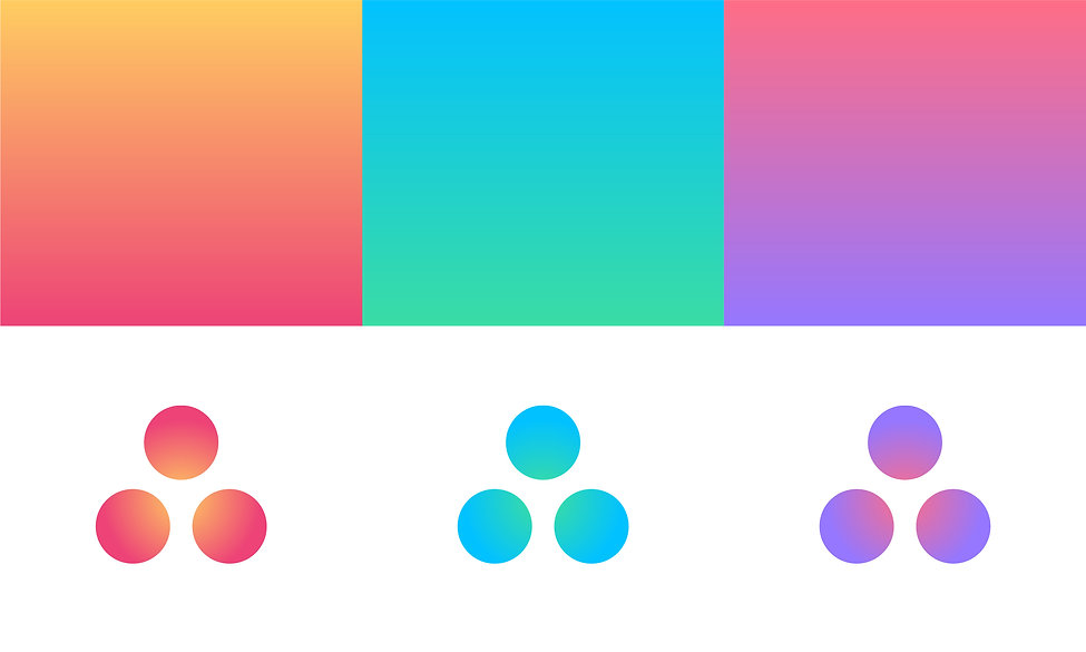 Three gradients: orange to coral red, cyan to light green, coral red to bright purple. Emulating the 3 different times of day.