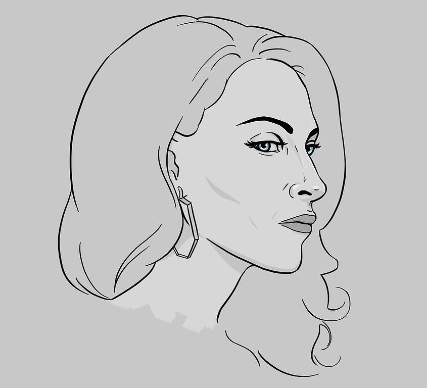 digital portrait illustration of Bridget Regan as Sin Rostro Rose Solano on Jane the Virgin