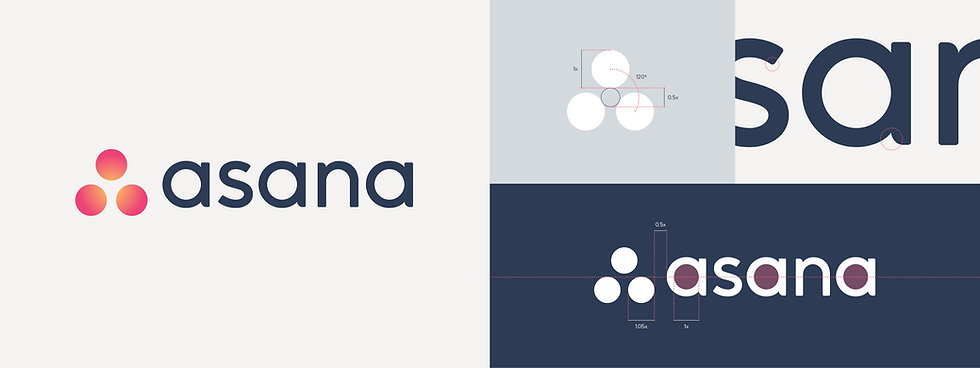 Asana symbol and wordmark construction