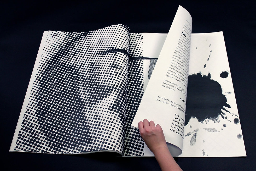 Extra large zine with a halftone graphic of George Washington from the dollar bill