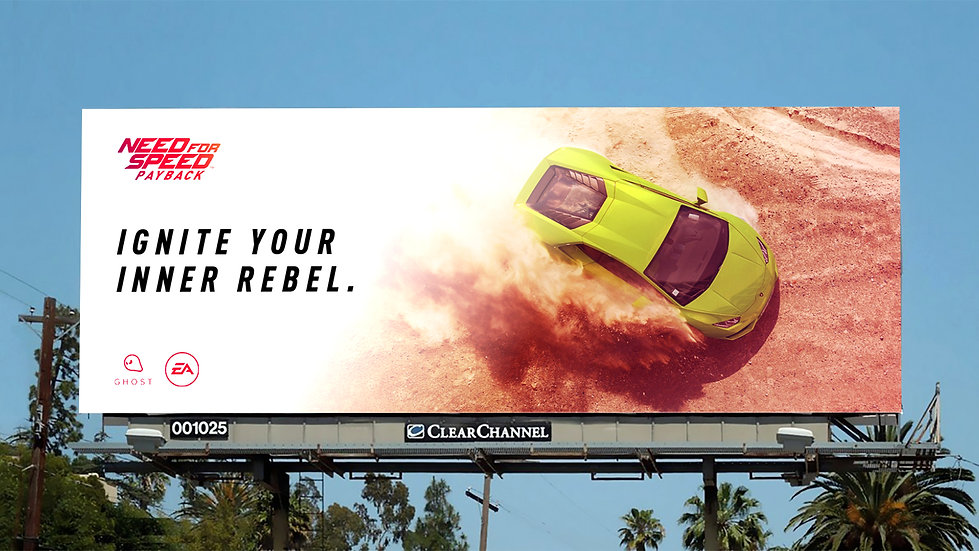 Billboard mockup showing: Need for Speed Payback, Ignite your inner rebel.