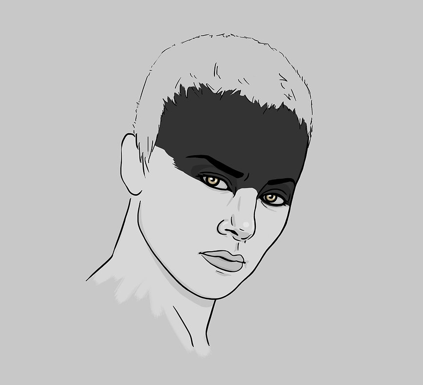 digital portrait illustration of Charlize Theron as Furiosa on Mad Max