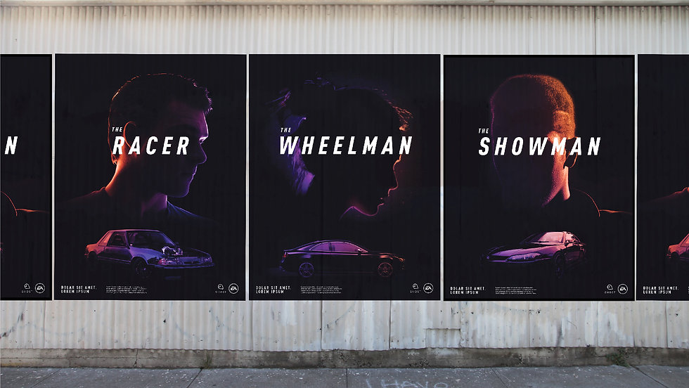 Mockup of posters wheatpasted on a ridged wall, showing the Racer, the Wheelman, and the Showman