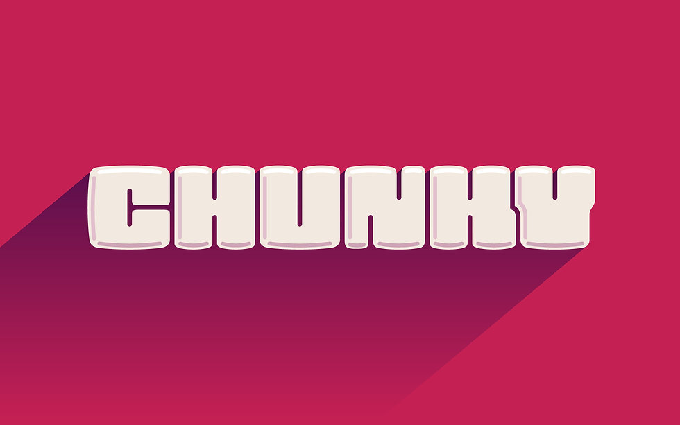 "The word ""Chunky"" in a bubbly and chunky lettering style. Beige fill, pink background"