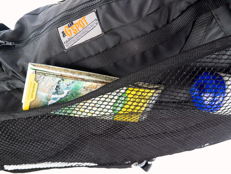 The netting on the underside of the bag is designed to place items that you need to get to quickly and from anywhere in the Jeep.