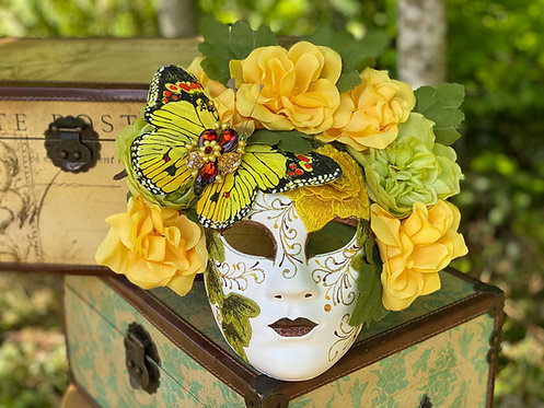 Butterfly Garden Mask in Yellow