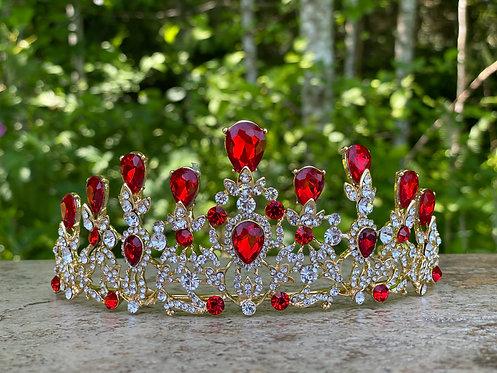 Elegant Crystal Tiara in Red