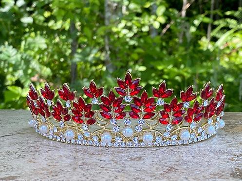 Jewel Leaf Tiara in Red