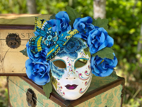 Butterfly Garden Mask in Blue
