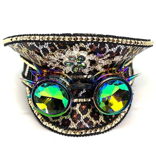 Leopard Steampunk Hat w/Goggles