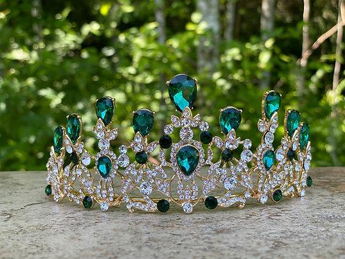 Elegant Crystal Tiara in Green
