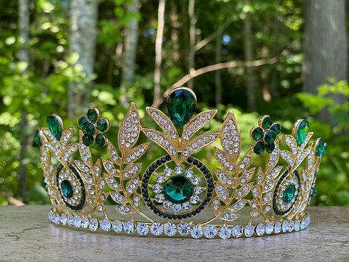Crystal Medallion Tiara in Green