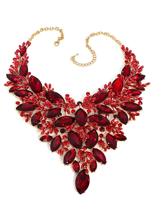 Red Crystal/Pearl Bead Necklace
