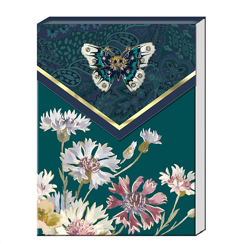 Emerald Wildflowers Broach Notepad