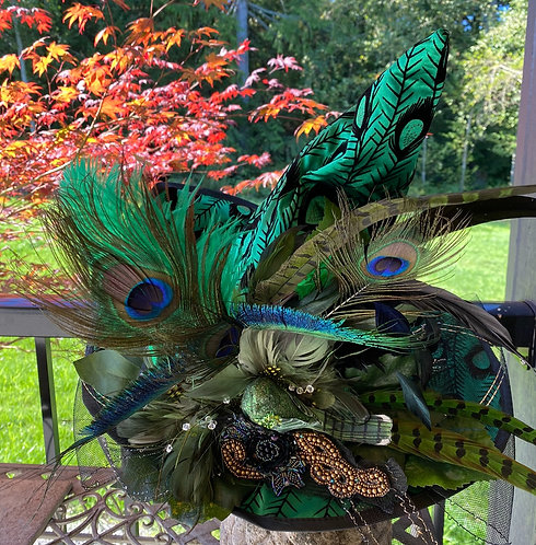 Green Peacock Witch Hat