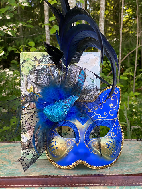 Feathered Blue Cat Mask