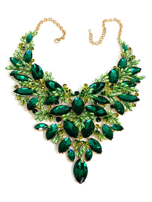 Green Crystal/Pearl Bead Necklace