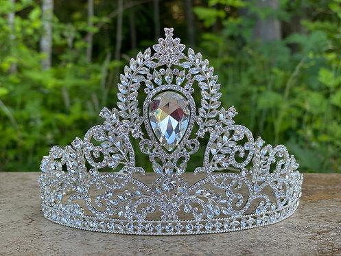 Filigree Leaf Tiara in Crystal