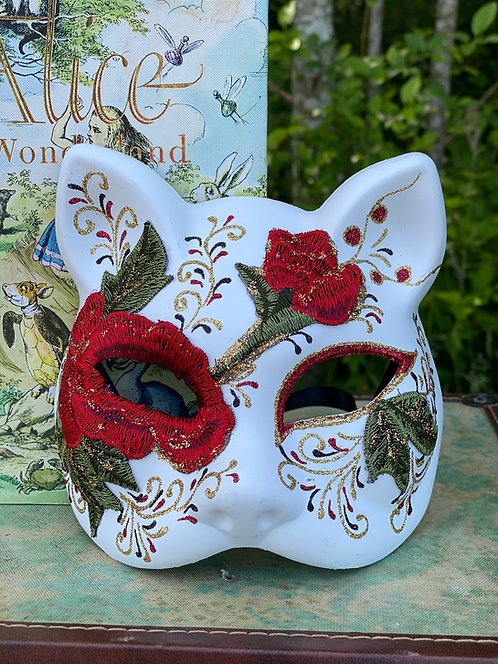 White Gatto Rose Mask