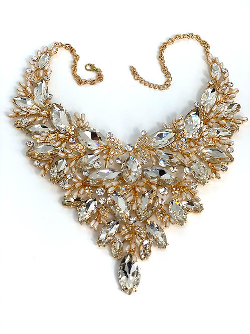 Golden Clear Crystal/Pearl Bead Necklace