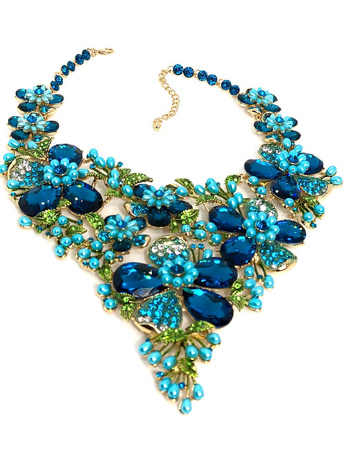 Blue Floral Gem w/Pearlized Beads