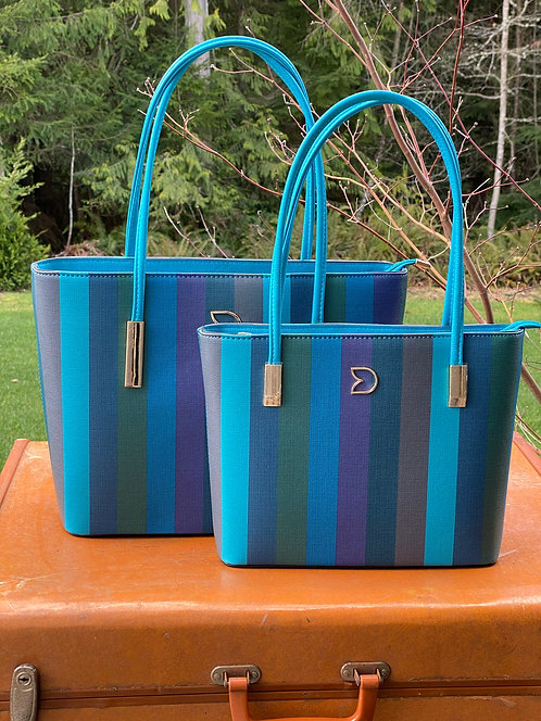 Blue Candy Striped Purse - 2 Sizes