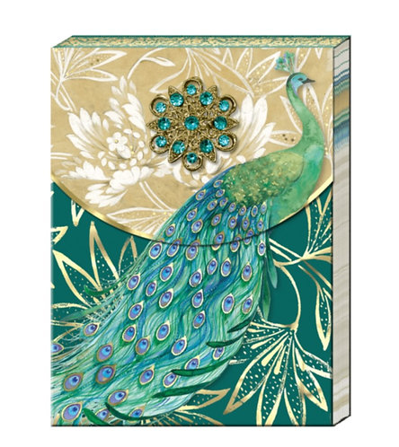 Emerald Peacock Broach Notepad