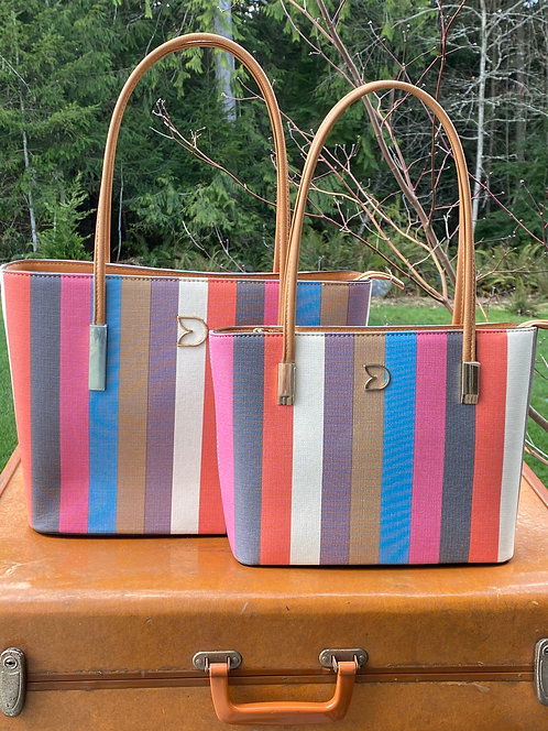 Pink Candy Striped Purse - 2 sizes