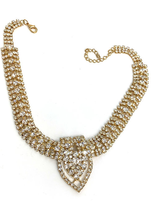 Golden Choker Tie Style Necklace