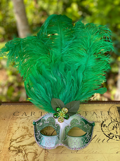 Feathered Mask in Green