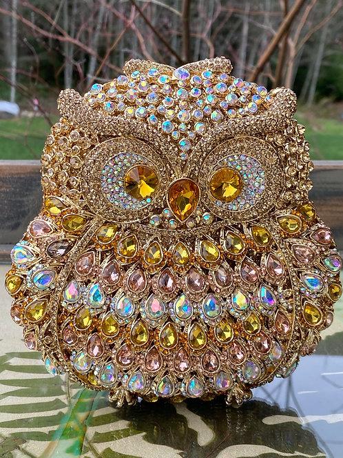 Golden Rhinestone Owl Purse