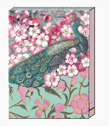 Pocket Cherry Blossom Peacock Notepad