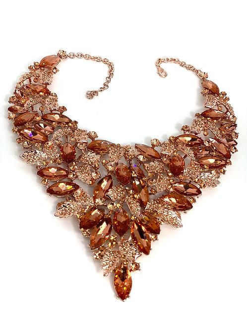 Rose Gold Gem/Leaf Necklace